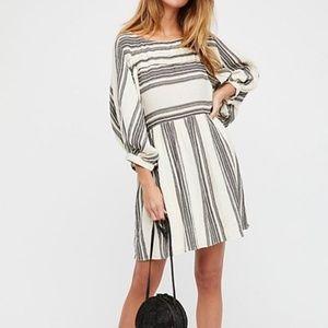 Free People Lily Stripe MIni Dress Ivory/Black S
